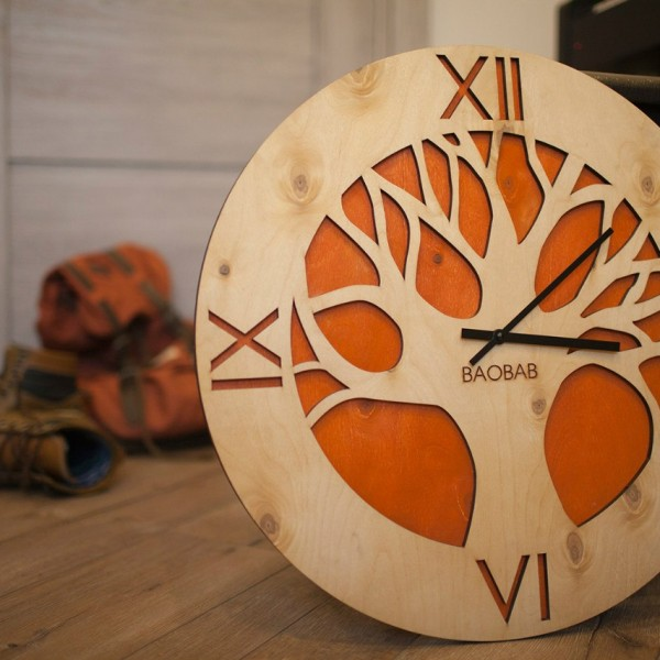 BAOBAB: wall clock made of wood African Tree