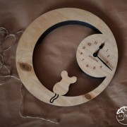 BAOBAB: Wall clock made of wood Eco Mouse