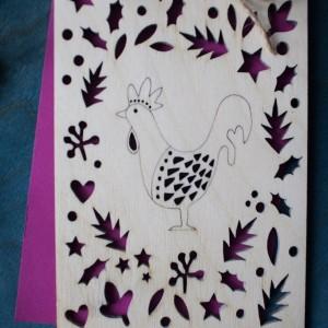 BAOBAB: деревянные открытки петушок