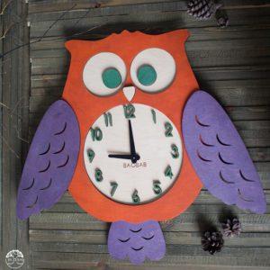 BAOBAB: настенные часы из дерева сова