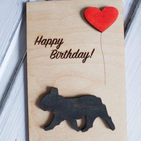 BAOBAB: wooden greeting cards Bulldog