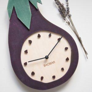 BAOBAB: настенные часы из дерева Баклажан