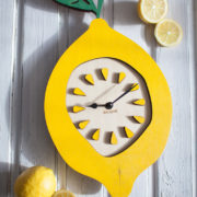 BAOBAB: wooden wall clock lemon