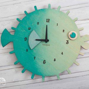 BAOBAB: настенные часы из дерева рыба шар